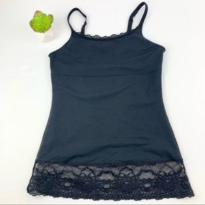 Flexees Lace Trim Black Camisole Tummy Shapewear M